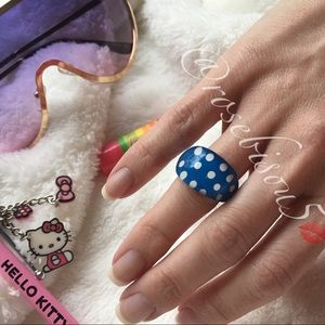 Jewelry - PolkaDots Captured Paint Resin Ring Blue & White